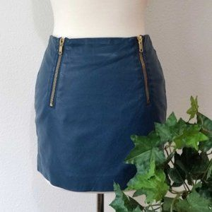 H&M Faux Leather Double Zipper Mini Skirt Teal 4